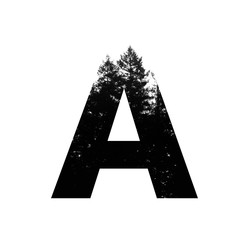 Letter A hipster wilderness font lettering. Outdoor adventure.