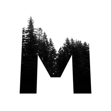 Letter M hipster wilderness font lettering. Outdoor adventure.