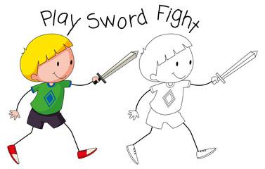 Doodle boy play sword fight