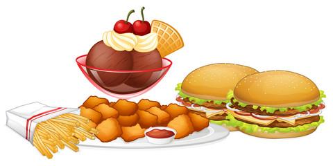 Set of junk food