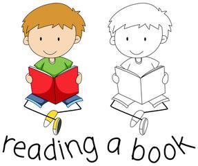 Doodle boy reading a book