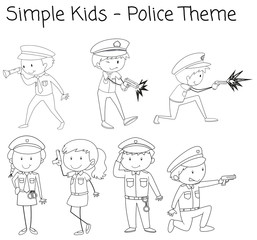 Doodle simple police character