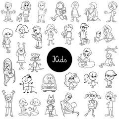 cartoon children black and white set