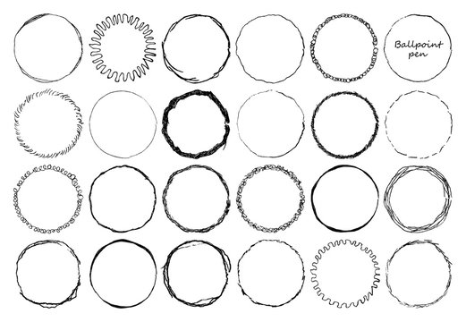 Set of doodle circle frames with pencil effect . Damage round grunge shape silhouette. Circle distressed grunge texture. Made by ballpoint pen, thin lines, lace. Vector