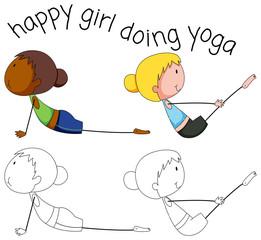 Set of doodle yoga girl