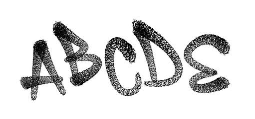 Graffiti spray font alphabet. Spider font. Vector illustration