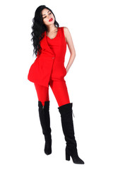 Woman in a bright red suit