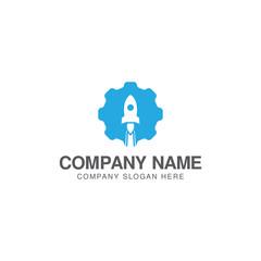 Cog wheel and rocket launch logo design vector template