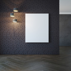 empty room with light and blank pictures, 3d rendering