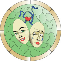 Theatre masks on a green background with blue ribbons and red heart stained glass, mosaic pattern