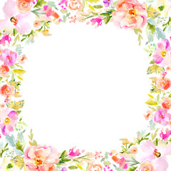 Watercolor Floral Background Frames