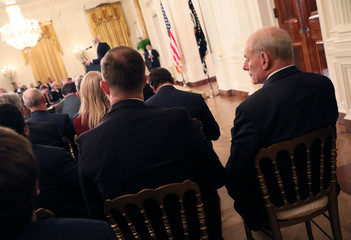 White House Chief of Staff John Kelly attends the news conference held by U.S. President Donald Trump in Washington