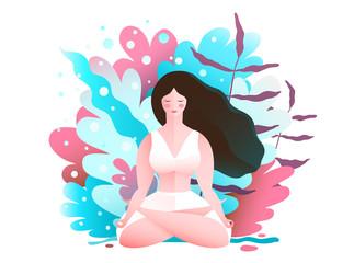 Woman in Nature Sitting in Lotus Pose