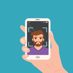 Selfie colorful vector concept.