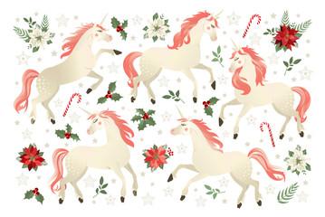 Christmas set with Unicorn, vector illustration on black background