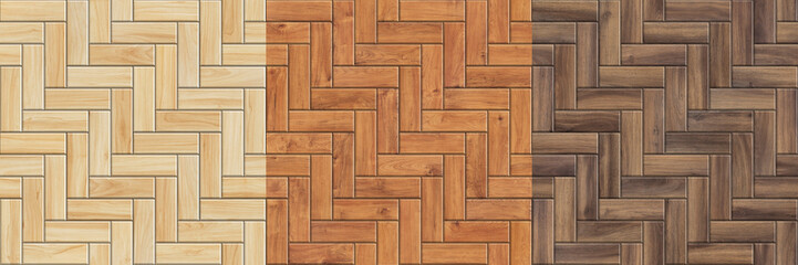 Set of high resolution seamless textures of wooden parquet. Herringbone patterns