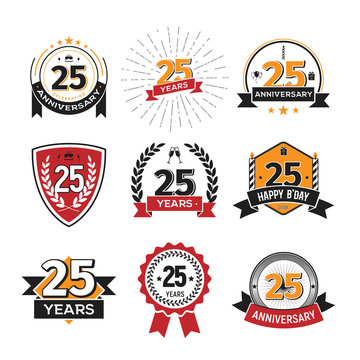 Collection of retro twenty five anniversary logo. Set of Isolated vintage icons of 25 th years celebrating vector illustration
