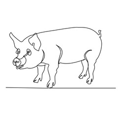 Pig. Continuous drawing with one line. Vector.