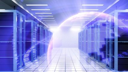 Corridor in Working Data Center Full of Rack Servers and