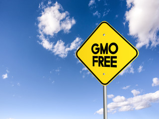 road sign gmo free on the blue sky. 3D illustration