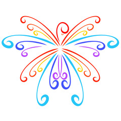 Flying rainbow bird like a snowflake, curly pattern
