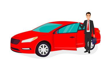 Happy businessman getting into his new red car. The concept of business success. Car sale concept.