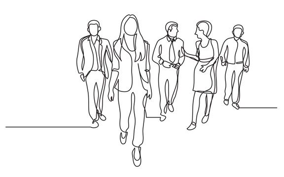 continuous line drawing of business team walking together discussing work