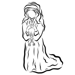 Woman praying kneeling, Bible times, black pattern