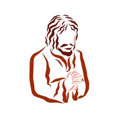 Conversation with God, humbly praying man, with wavy hair