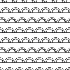 Monochrome Abstract doodle background. Seamless geometric vector pattern. Black arches on white. Modern Art deco arc design. Fabric, paper, scrapbooking, wallpaper, web banner, packaging, page fills
