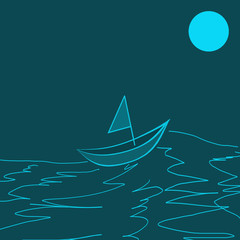 boat in the night sea