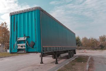 Truck trailer on parking lot