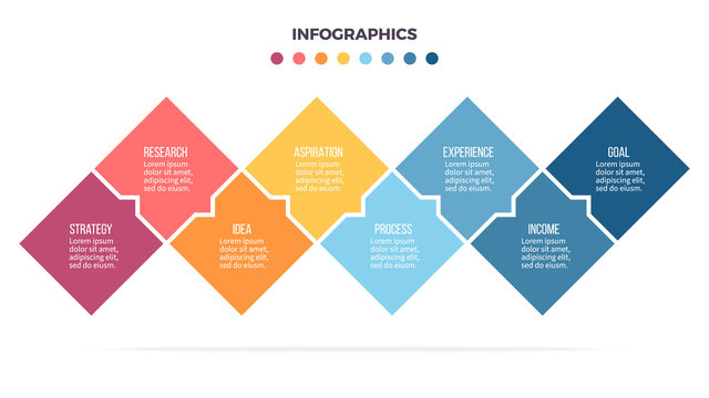 Business infographics. Timeline with 8 steps, options, squares. Vector template.