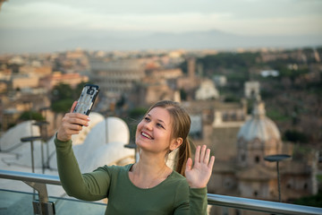 Woman on roof in Rome