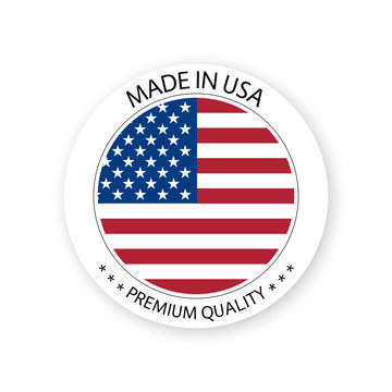 Modern vector Made in USA label isolated on white background, simple sticker with American colors, premium quality stamp design, flag of USA