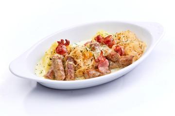 sausage with mashed potato