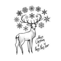 "The deer with snowflakes. Inscription ""Merry Christmas and happy new year"". Can be used as gift card. Holiday illustration."