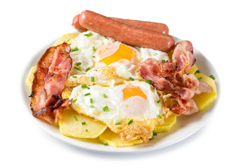 Photo sur Aluminium Buffet, Bar Huevos con bacon, salchichas y patatas