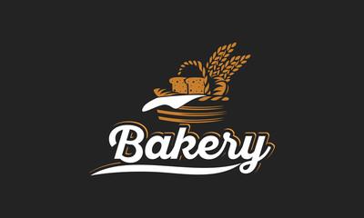 Bread basket logo - vector illustration. Bakery emblem design