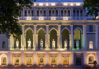 The Nizami Museum of Azerbaijani Literature in Baku, named after the great romantic epic poet Nizami Ganjavi. The statues are of famous Azerbaijani writers. Azerbaijan