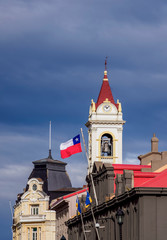Local Government Office and Cathedral Tower, Punta Arenas, Magallanes Province, Patagonia, Chile