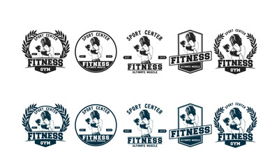 set of fitness logo design template
