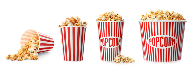 Stores photo Graine, aromate Set with different cardboard containers of caramel popcorn on white background