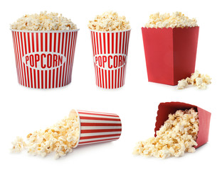Stores photo Graine, aromate Set with different cardboard containers of tasty popcorn on white background