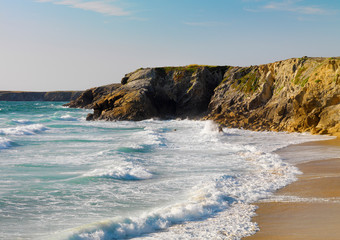 France, Brittany, Morbihan, Cote Sauvage, Quiberon Peninsula, Port Bara, waves breaking on sandy beach