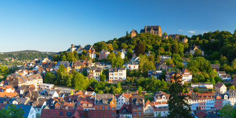 View of Landgrafenschloss and town, Marburg, Hesse, Germany