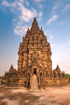 Exterior view of Prambanan temple against cloudy sky