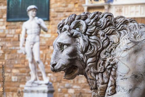 Sculptures in Piazza della Signoria with a copy of the