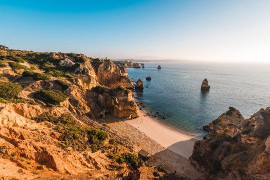 Portugal, Algarve, Faro district, Lagos, Camilo Beach (Praia do Camilo).
