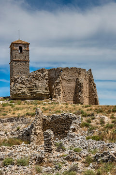 The preserved ruins of the abandoned old village as a result of the Spanish Civil War, Roden, Aragon, Spain